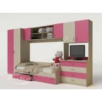 стенка в детскую с кроватью розового цвета