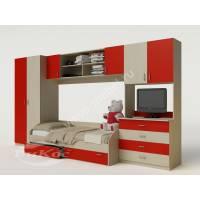стенка в детскую с кроватью красного цвета