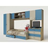 стенка в детскую с кроватью голубого цвета