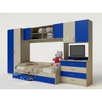 стенка в детскую с кроватью синего цвета