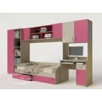 стенка для ребенка с кроватью розового цвета