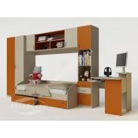 стенка в детскую для девочки оранжевого цвета