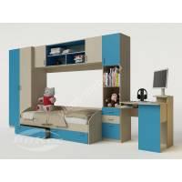 стенка в детскую с кроватью цвета мармара голубой