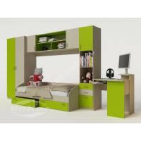 стенка в детскую с кроватью цвета зеленый лайм