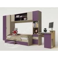 стенка в детскую с кроватью филетового цвета