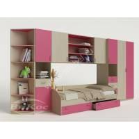 детская стенка с кроватью розового цвета