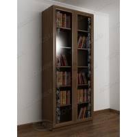 книжный шкаф с пескоструйным зеркалом цвета шимо темный