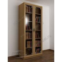 книжный шкаф с пескоструйным рисунком цвета бук