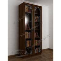 книжный шкаф с пескоструйным зеркалом цвета яблоня