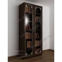 книжный шкаф с пескоструем цвета венге