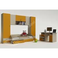 стенка в детскую с кроватью желтого цвета
