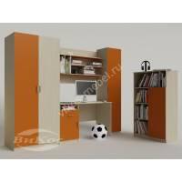 детская стенка со столиком оранжевого цвета