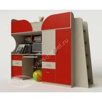 кровать чердак в детскую со шкафом красного цвета