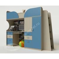 кровать чердак в детскую со шкафом голубого цвета