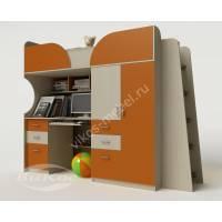 девчачая кровать чердак в детскую оранжевого цвета