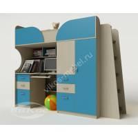 кровать чердак в детскую со шкафом цвета мармара голубой