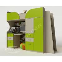 кровать чердак в детскую со шкафом цвета зеленый лайм