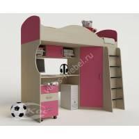 девчачая кровать чердак для ребенка с вместительным шкафом