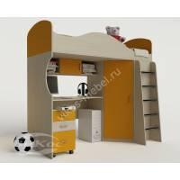 кровать чердак для ребенка с вместительным шкафом желтого цвета