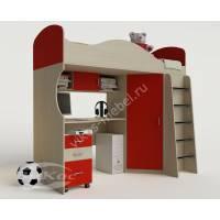 кровать чердак для ребенка с вместительным шкафом для девочки