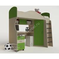 кровать чердак для ребенка с вместительным шкафом зеленого цвета