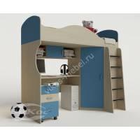 кровать чердак для ребенка с вместительным шкафом голубого цвета