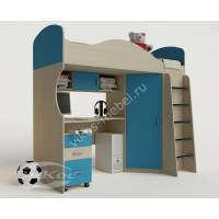 кровать чердак для ребенка с вместительным шкафом для парня