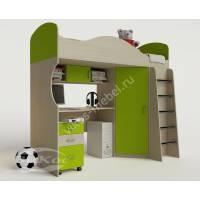 кровать чердак для ребенка с вместительным шкафом цвета зеленый лайм