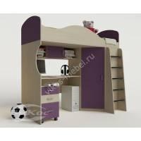 кровать чердак для ребенка с вместительным шкафом филетового цвета