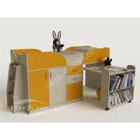 детская кровать чердак со шкафом желтого цвета