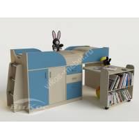 детская кровать чердак со шкафом голубого цвета