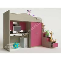 девчачая кровать чердак в детскую розового цвета