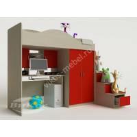 кровать чердак в детскую с вместительным шкафом для девочки