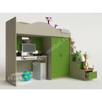 кровать чердак в детскую с вместительным шкафом зеленого цвета