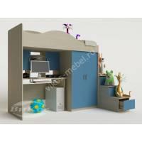 мальчуковая кровать чердак в детскую голубого цвета