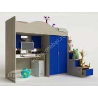 кровать чердак в детскую с вместительным шкафом синего цвета
