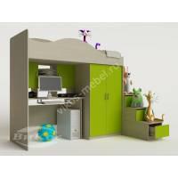 кровать чердак в детскую с вместительным шкафом цвета зеленый лайм