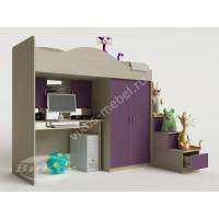 кровать чердак в детскую с вместительным шкафом филетового цвета