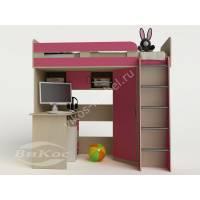 кровать чердак для ребенка для девочки розового цвета