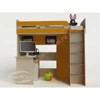 кровать чердак для ребенка со шкафом желтого цвета