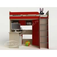 девчачая кровать чердак для ребенка со шкафом
