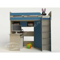 кровать чердак для ребенка со шкафом голубого цвета