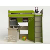 кровать чердак для ребенка со шкафом цвета зеленый лайм