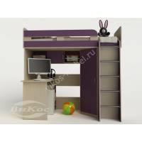 кровать чердак для ребенка со шкафом филетового цвета