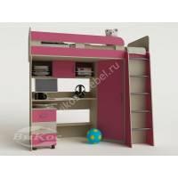 девчачая детская кровать чердак розового цвета