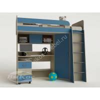 детская кровать чердак с вместительным шкафом голубого цвета