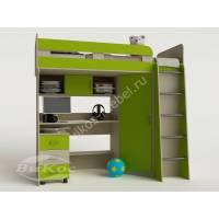 детская кровать чердак с вместительным шкафом цвета зеленый лайм
