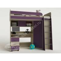 детская кровать чердак с вместительным шкафом филетового цвета