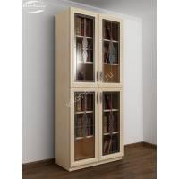 витражный шкаф для книг цвета молочный беленый дуб