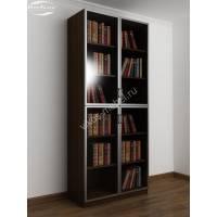2-дверный шкаф для книг цвета венге - молочный дуб